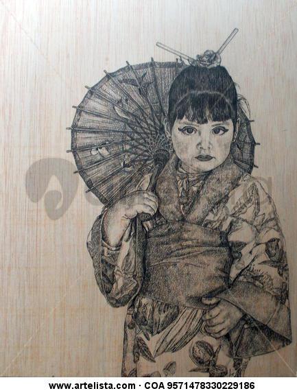 ROCÍO JAPONESA Retrato Tabla Grafito