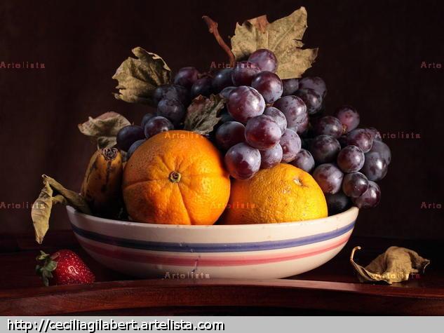 Bodegón  de frutero de uvas y naranjas Color (Digital) Bodegones