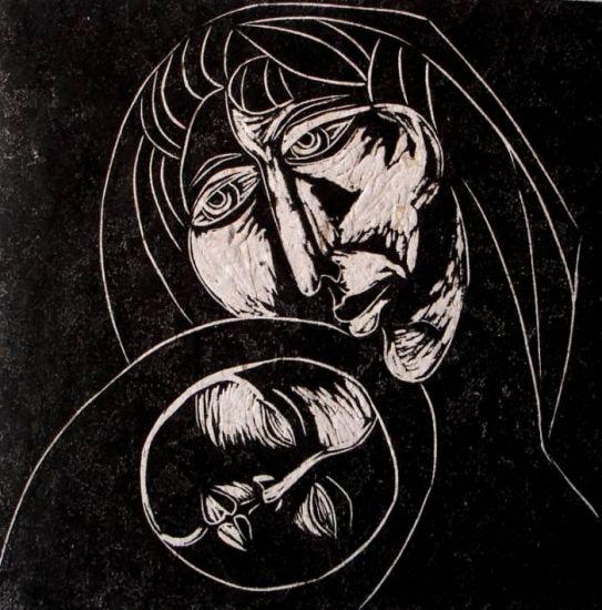 Maternidad. Linograbado