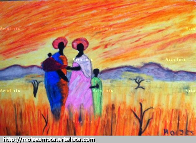 Africanas Paisaje Pastel Papel