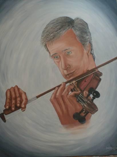 Pablo Agri el violinista Textile Oil Portrait