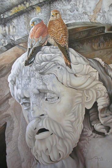 Pájaros en la cabeza Tabla Óleo Animales