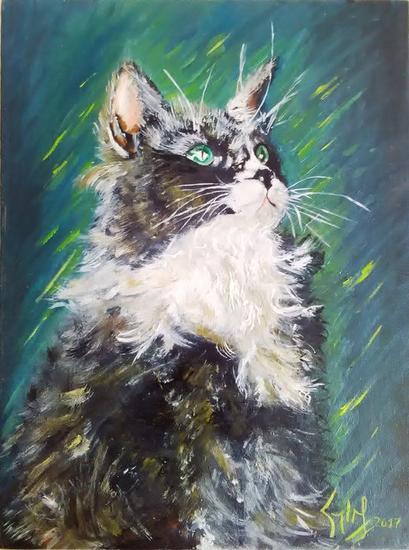 El gato Solemne Animales Tabla Óleo