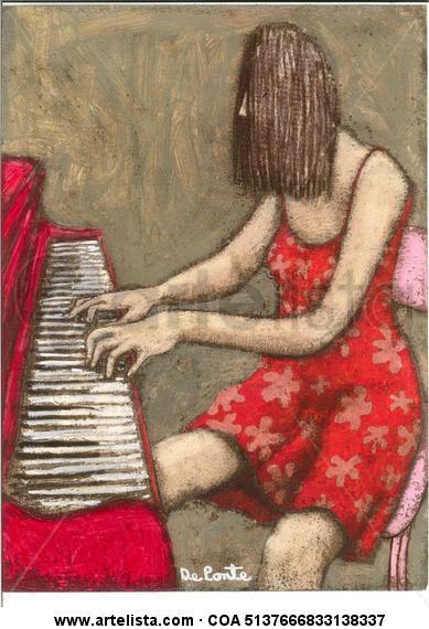 la pianista Papel Acrílico Otros