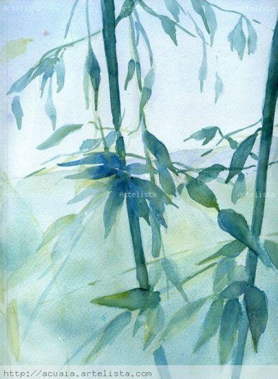 Bambues Acuarela Papel Paisaje