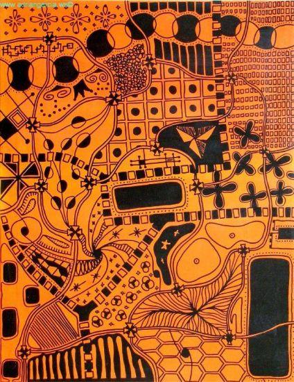 Universo en Color Naranja Rotulador Lienzo Otros