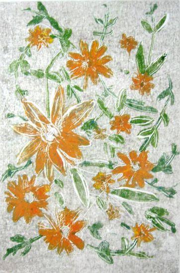 Florers Naranja Sueltas Óleo Cartulina Floral