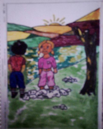 ilustración 7 Paisaje Cartulina Pastel