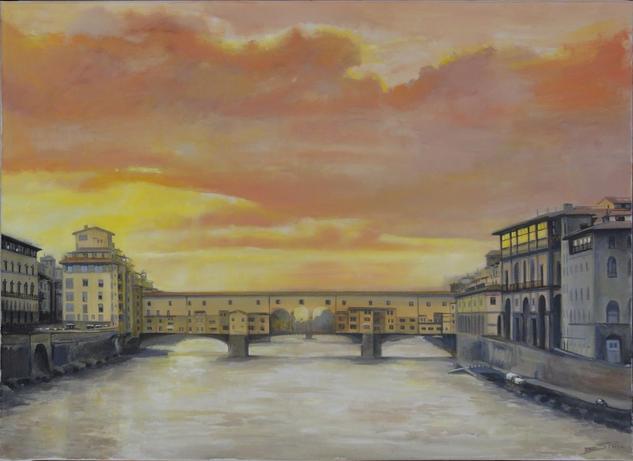 Ponte Vecchio dorado Lienzo Óleo Paisaje