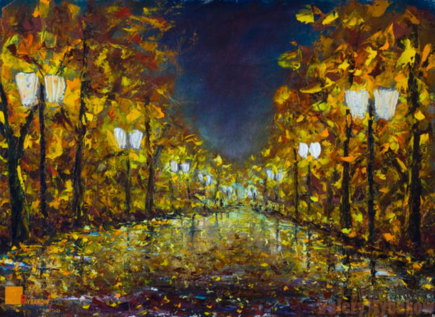 Lonely night park NEW City landscapes impasto art Lienzo Óleo Paisaje
