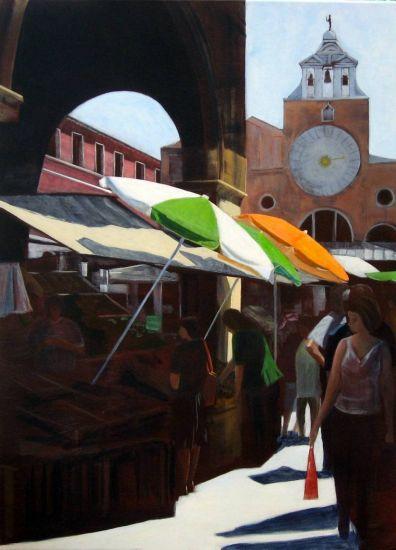 Market in Venice Lienzo Acrílico Paisaje