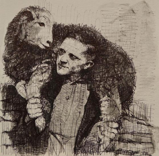 El hombre y la oveja Tinta