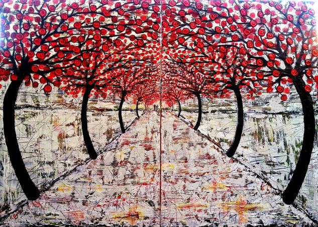 El sendero blanco de los caracoles rojos 2 (díptico) Lienzo Media Mixta Paisaje