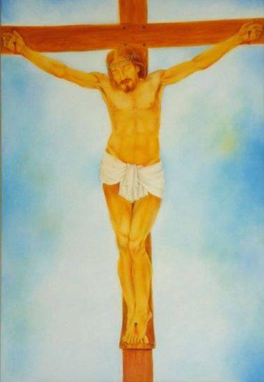 Cristo na Cruz Óleo Lienzo Figura
