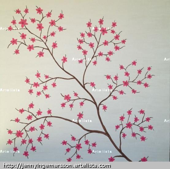 Japanska körsbärsblommor Lienzo Acrílico Floral