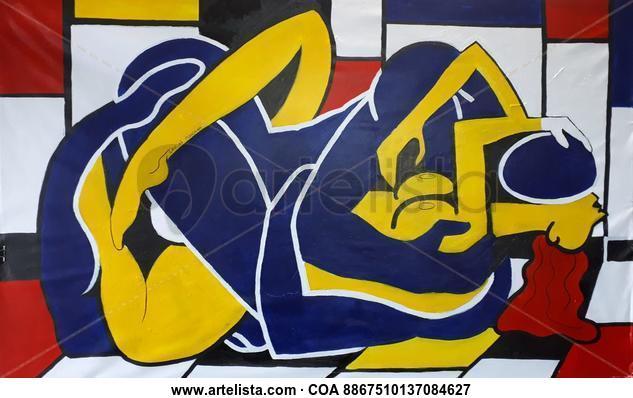 Instintos primarios en colores primarios Desnudos Acrílico Tela
