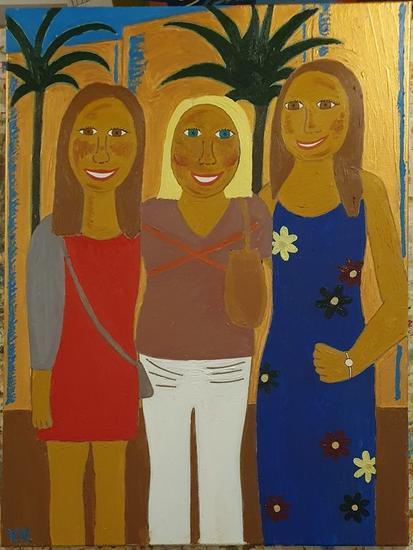 Mi madre, mi hermana y yo Retrato Óleo Lienzo