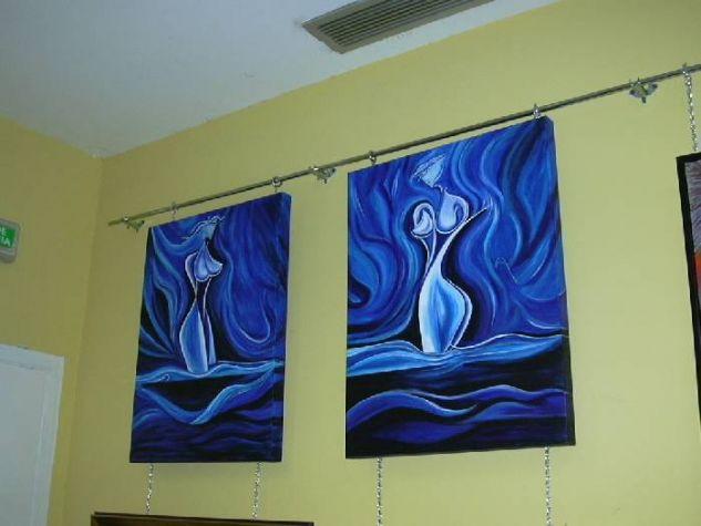 mujeres abstractas juntas Acrílico Lienzo
