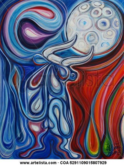 El toro enamorado de la luna Animales Óleo Cartulina