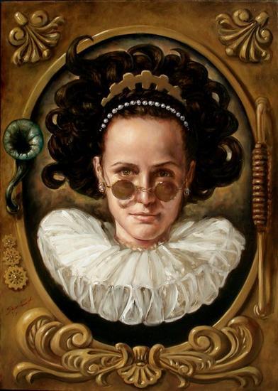 Retrato de Dama con Engranes Lienzo Óleo Retrato