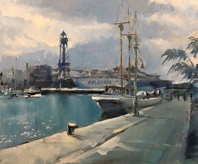 passeig pel port Óleo Marina Lienzo
