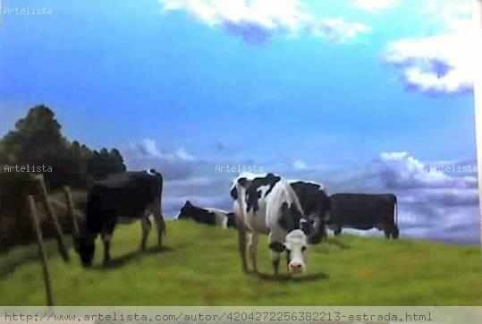 Vacas pastando diomer estrada correa - Cuadros de vacas ...