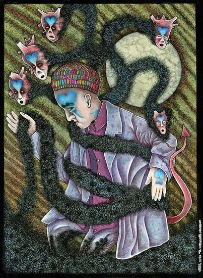 El Mercader de Latidos. 21X29 cm. Año 2010. Tintas y Bolígrafos sobre papel Canson, Tinta