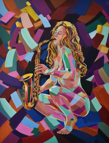 Saxofonista Lienzo Acrílico Figura