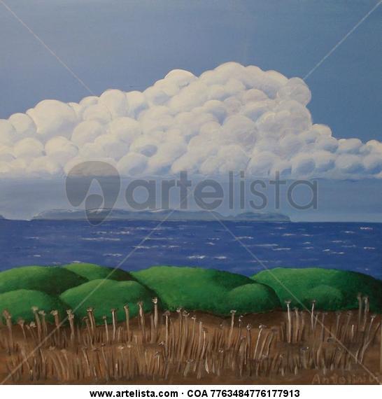 Mountains of clouds over Cabrera Lienzo Acrílico Marina