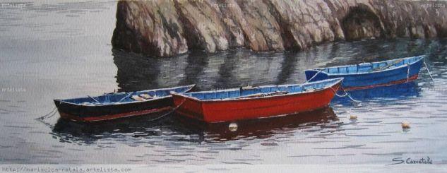 Barcas Papel Acuarela Marina