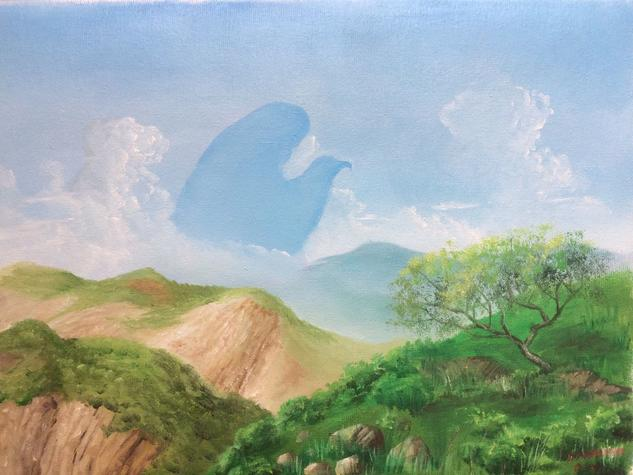 Aguila Mexicana en la sierra. Paisaje Óleo Lienzo
