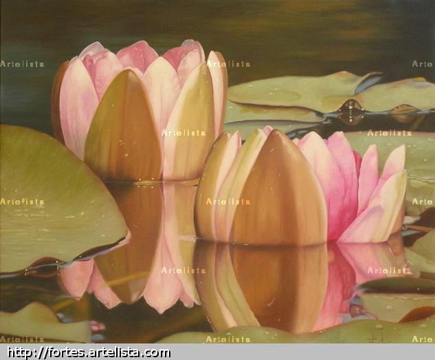 Flores de loto Óleo Lienzo Floral