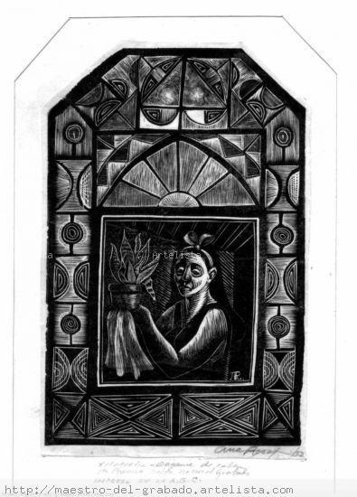 mujer en la ventana Xilografía