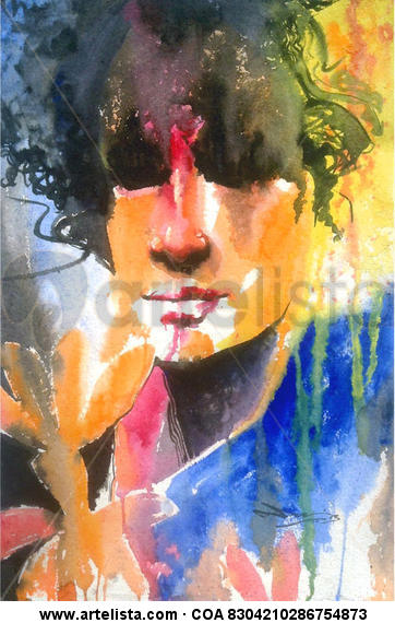 She(veiled) Acuarela Retrato Papel