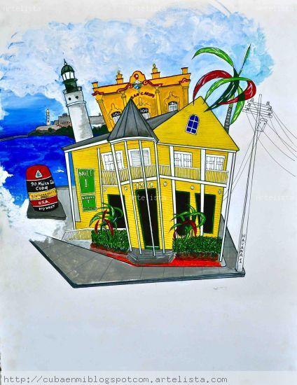 Havana 1 Restaurant in Key West Acrylic Card Landscaping