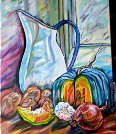 Bodegon , jarron con hortalizas Bodegones Óleo Tela