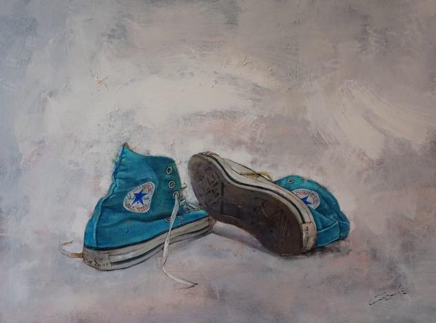 Where are my old boots ? Paisaje Óleo Tabla