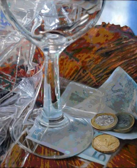 Copa de cristal con monedas Lienzo Óleo Bodegones