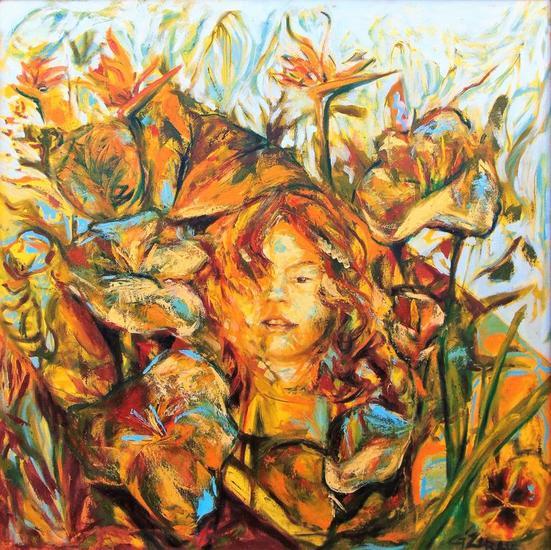 La Escondida - Gisela Zarate Lienzo Óleo Retrato