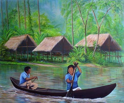 Originarios en Wuajibaca por el rio orinoco Óleo Lienzo Paisaje