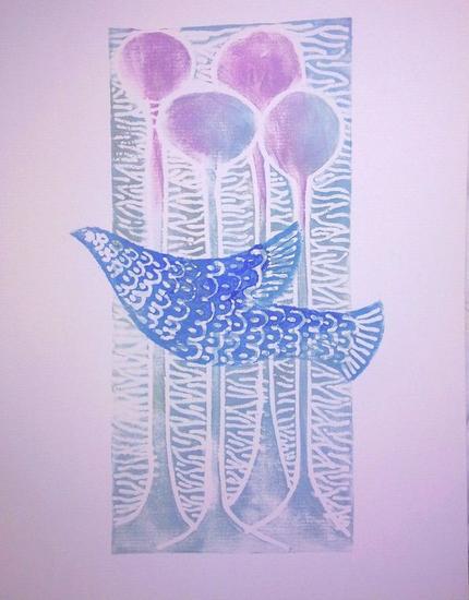 Pájaro azul Linograbado