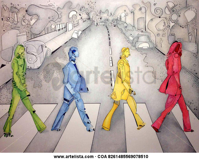 The Beatles Pastel Figura Papel
