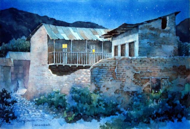 noche en urique Paper Watercolour Landscaping