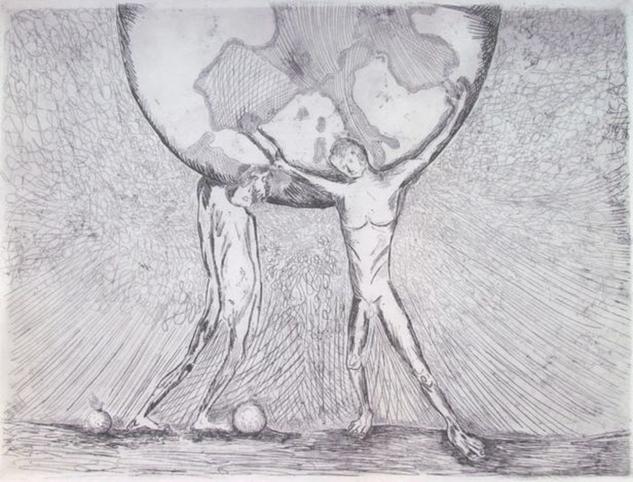 Hercules, Atlas y las manzanas doradas Aguafuerte