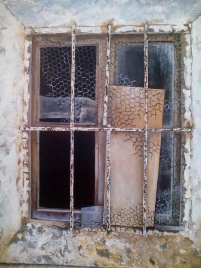 ventana vieja Lienzo Media Mixta Paisaje