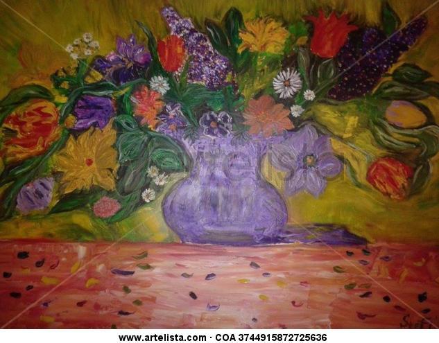 Colorful Fantasy Floral Óleo Lienzo