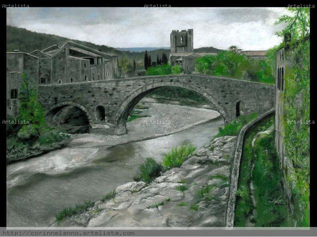 Abbaye de Lagrasse Pastel Papel Paisaje