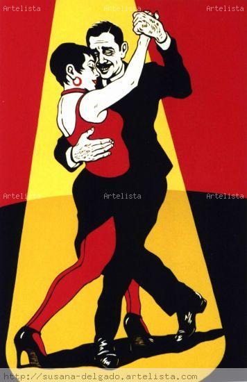 Rojo tango Xilografía