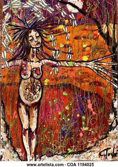 La danza de las libélulas  Desnudos Acrílico Papel
