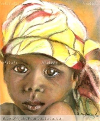 Niño Nigeriano Óleo Papel Retrato